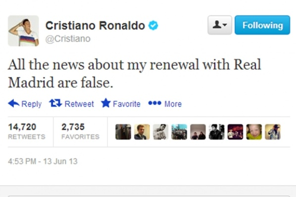 Ronaldo: All news about my contract renewal with Real Madrid are false.